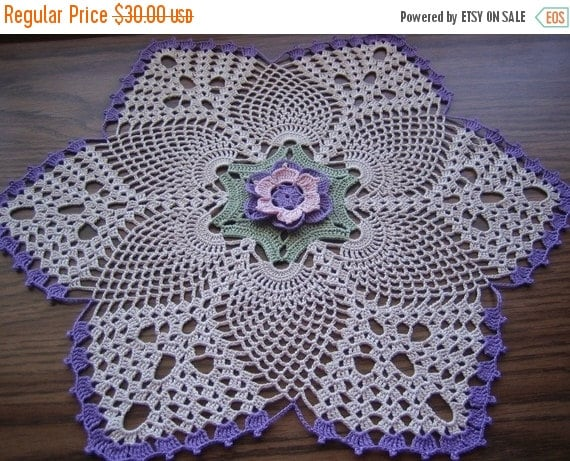 holiday sale Hand crocheted,Lotus, thread doily, home fashion, new