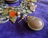 Dream Potion: Gypsy CHOKER Necklace Perfume Bottle Exotic Vintage Assemblage STATEMENT Ethnic Boho Amulets Crescent Moon Coins Elephants