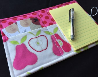 Mini List Taker, Organizer, Coupon Holder, Apples and Pears by Alexander Henry, Notepad And Pen/Pencil Included