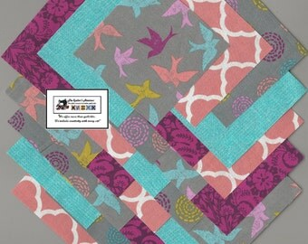 """20~6"""" Teal_Raspberry_Peach Birds Fabric Squares/Quilt/Craft/Sewing/Charm Packs #6882"""