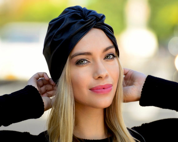 Black Leather Turban Hat Fall Fashion Fall Accessories Turban Twist Front Knot Winter Hat Fall Hat Black Hat