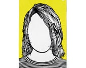Kurt Cobain Tea Towel, Kurt Cobain Merchandise, Kurt Cobain Dishcloth, Yellow Tea Towel