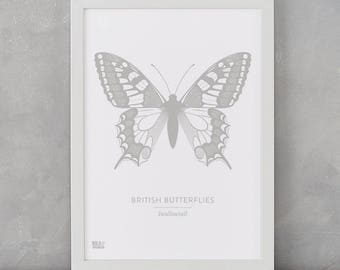 Butterfly Print, British Butterflies, Swallowtail Screen Print, Nature Wall Art, Butterfly Art, Butterfly Decor, Butterfly Gifts