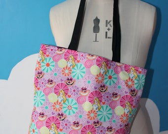 alice in wonderland and cheshire cat tote bag