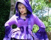 Purple Bustle Coat- Upcycled Sweater Coat with a Medieval Liripipe Hood and Bell Sleeves- by SnugglePants