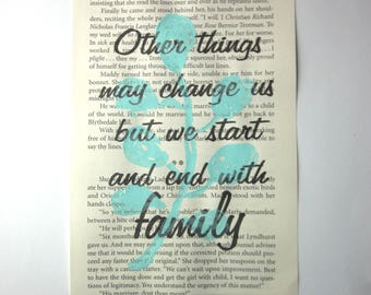 Family print on a book page
