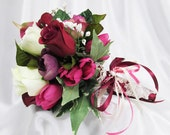 Mulberry Memories Small or Toss Bridal Bouquet in Burgundy, Purple, Marsala Red and Cream - Ready to Ship