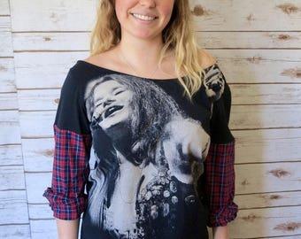Janis Joplin Plaid Sleeve Hippie Boho Woodstock Eco Friendly Off The Shoulder OOAK Upcycled Tee T-shirt Top Shirt Womens One Size