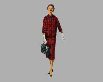 1955 One-Piece Dress/Jumper/Jacket Pattern Simplicity 1233 Bust 34, Size 16, Low Back V Neck, Deep kick pleat, Box Jacket UNCUT, FF