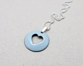 Light Blue Heart Necklace - Blue Heart Pendant Necklace - Pastel Blue Enamel Pendant