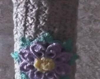 Bonnie's OOAK Crochet Cotton Thread Item- Standard Size Crochet Lighter Case w/ Lavender Flower& leaves Decor. @ cyicrochet