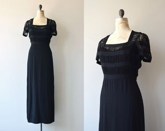 Milgrim silk gown | vintage 1930s dress | long silk 30s dress