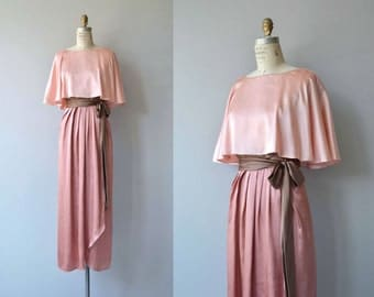 Courcy silk dress | vintage 1970s maxi dress | silk 70s dress