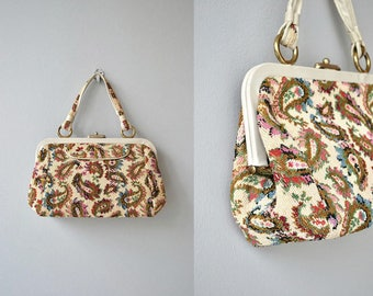 Rainbow Paisley tapestry bag | vintage 1960s carpet bag | 60s tapestry handbag