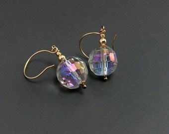 Swarovski Faceted Crystal Bead Drop Earrings Handmade Gold filled ear hooks, Rainbow Disco Ball Bead, Boho
