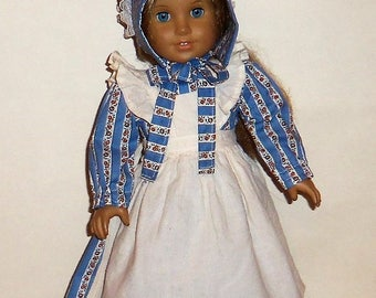 Blue Floral, Prairie Dress, 18 Inch Doll, Cotton Apron, Sun Bonnet, Historical Costume,  American Made, Girl Doll Clothes
