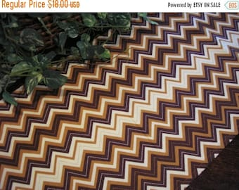 ON SALE Table Runner Chevron Stripes Brown Padded