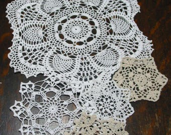 """lot of 14 Hand Crochet Doily 5""""-7""""-15"""" RD for Cottage/Victorian/Shabby/Boho/French Style,Tea Party, Vintage Wedding"""