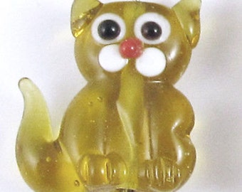 Lampwork Glass Kitty Beads-AMBER CAT 17x20mm (4 Pieces)