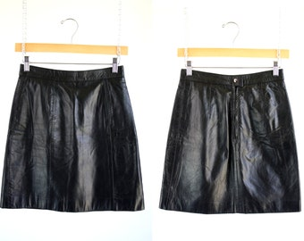 Berman's Vintage Black Leather Woman's Retro High Waist Mini Skirt