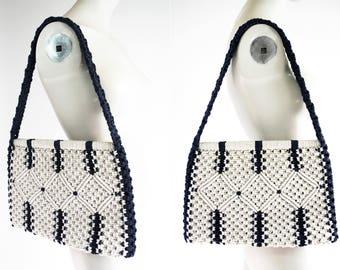 Vintage Blue and Cream Colored Macrame Woven Retro Purse Tote Shoulder Bag