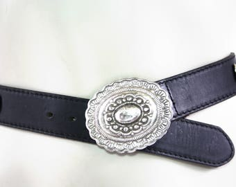 Navasota Made in USA Vintage Black Leather with Silver Western Style Details Unisex Belt