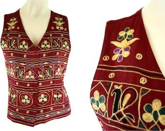 Vintage Smithsonian Institute Maroon Embroidered Unisex Retro Self Adjust Button Front Retro Vest