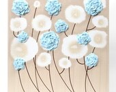 Small Wall Art Painting of Flowers - Blue and Brown Home Decor - Textured Canvas - Select a Size