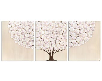Canvas Wall Art - Pink and Brown Girls Nursery Tree Paintings Triptych Textured - Large 50x20