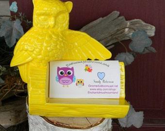 Owl business card holder office desk decor ceramic glazed- Vintage Design Bright Fruit Yellow