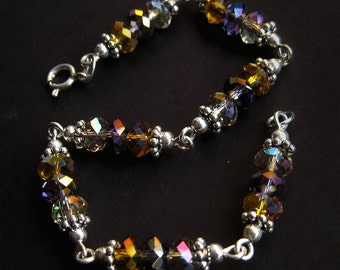Sterling Silver Beaded Tricolor Crystal Link Bracelet in Topaz, Amethyst and Storm Grey