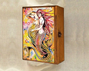 Mermaid painting, woman and sea, mermaid art, art gift box, treasure box, jewelry box, 7x10