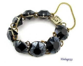 Bracelet Black Glass Stone open back Art Deco