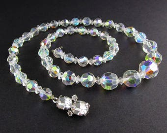 Necklace Beaded Crystal Aurora Borealis Rhinestone