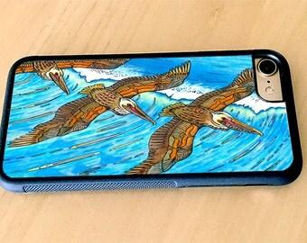 Wings Over Waves Pelicans Flying over ocean, Birds Rubber iPhone 5/5s, iPhone 6/6s, iPhone 6 Plus, iPhone 7, iPhone 7 Plus