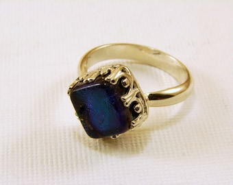 Sterling Silver and Dichroic Glass Ring, Size 7
