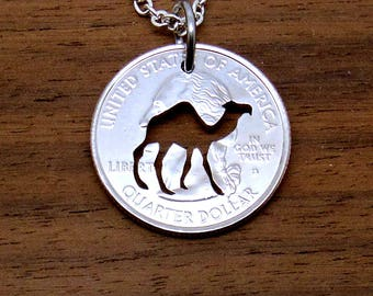 Camel Necklace, Camel Pendant, Pendant Necklace, Camel Key Chain, Key Ring, Dromedary Pendant, Coin Art, Hump Day, Cut Coin