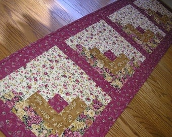 Quilted Table Runner, Log Cabin Runner,  15 1/2 x 54 1/2 inches