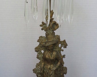 Antique Girandole Candleholder Marble Base/Brass /Figural Candleholder with Crystals/Girandole Candelabra