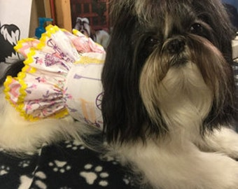 Dog Harness, Pet Harness, Dog Vest, Dog Fashion for Small Dog, Custom Dog Harness, Ruffles, Pink, Paris, Eiffel Tower