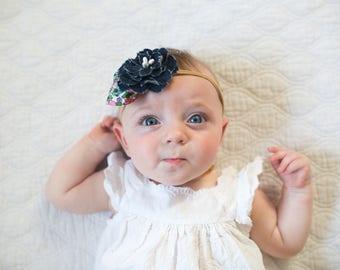 Headbands for Baby Girls - Blue Denim Flower - Baby Headband or Clip - Shabby Denim Ranunculus Flower
