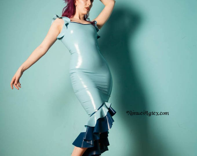 Featured listing image: Latex Fishtail Dress.  Fitted with low neckline and flounced tail.  Made to order.