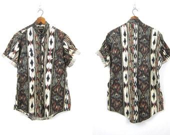 Vintage southwestern Cotton shirt button up Tribal shirt geometric pattern shirt mens Cowboy Western Shirt Size Medium Large