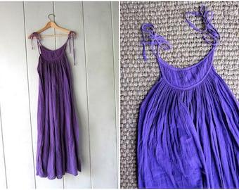 Vintage 80s Cotton Gauze Dress Purple Summer Slip Dress THIN COTTON Tie Up Straps Sundress Boho Tent Dress Womens Small Medium
