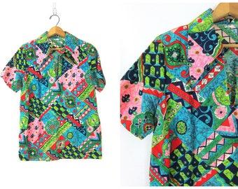 Retro Shirt Collar shirt Bali Beach Ethnic Tee California resort Lounge Sportswear Barkcloth Hipster Funky Top Vintage size Medium Dell's
