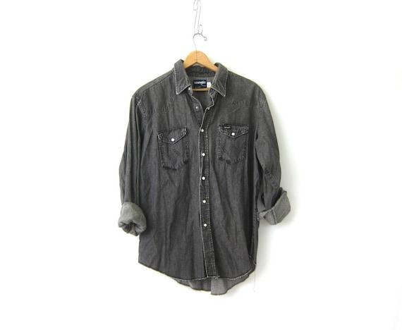Gray Black WRANGLER Jean Shirt denim Pearl Snap shirt Distressed Rugged Western hipster Denim jean Top Pocket shirt Men's Size Large