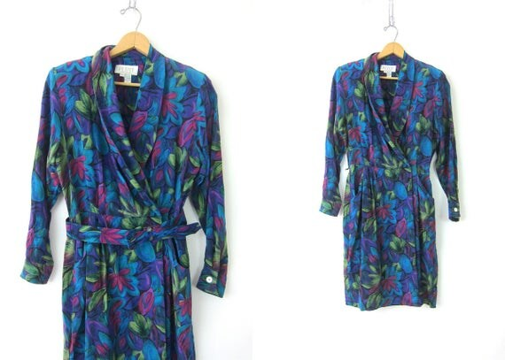 1980s SILK Wrap Wiggle Dress Blue Floral Print Plunging Neck Shirt Dress Flower Pattern Fitted Midi Dress Vintage Women's Size 12 Medium