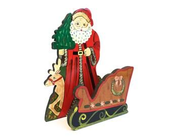Vintage Santa Napkin Holder~ Hand painted Santa with sleigh~ Wooden Christmas Decor~ Kitchen
