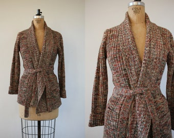 vintage 1970s sweater / 70s space dye sweater / 70s belted sweater / 1970s rust green belted cardigan / hippie sweater / boho sweater / L XL