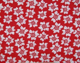 Holiday Christmas Fabric - White Poinsettia Flowers on Red - Cotton YARD